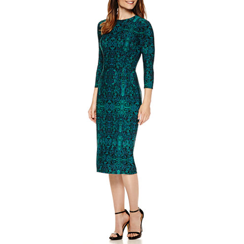 Liz Claiborne® 3/4 Sleeve Persian Carpet Print Sheath Dress