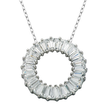 jcpenney.com | DiamonArt® Sterling Silver Baguette Cubic Zironcia Circle Pendant Necklace