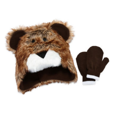 jcpenney.com | Fuzzy Bear Hat & Mittens Set- Toddler Boys