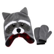 Racoon Hat & Mitten Set- Toddler Boys