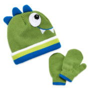 Dino Hat & Mittens Set- Toddler Boys