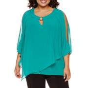 by&by 3/4-Sleeve Knit-to-Woven Necklace Top - Juniors Plus