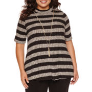 by&by Elbow-Sleeve Rib-Knit Swing Top with Necklace - Juniors Plus