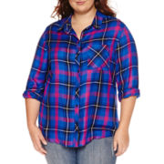 Arizona Long-Sleeve Plaid Boyfriend Shirt - Juniors Plus