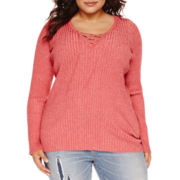 Arizona Long-Sleeve Lace-Up Top - Juniors Plus