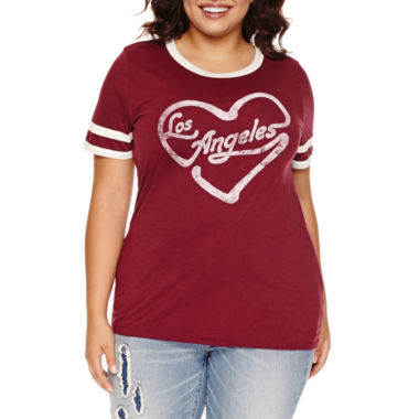 jcpenney.com | Arizona Short-Sleeve Ringer Tee - Juniors Plus
