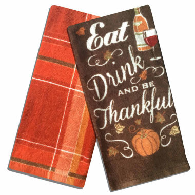 jcpenney.com | Homewear® Eat Drink & Be Thankful Set of 2 Kitchen Towels