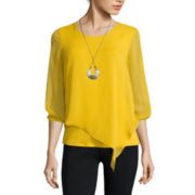 Alyx® Long-Sleeve Asymmetrical Woven Necklace Top