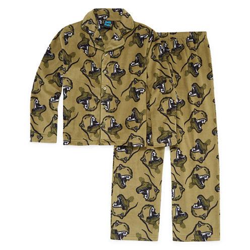 Khaki Dino Coat Front- Boys