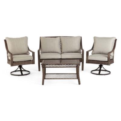 Outdoor Oasis Latigo Wicker 4 Pc. Conversation Set With Swivel Chairs