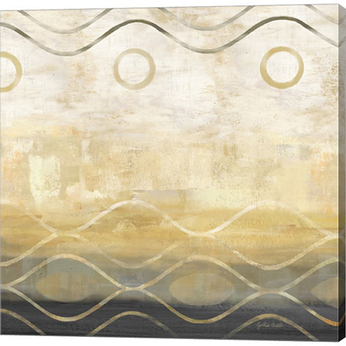 Abstract Waves Black/Gold II Gallery Wrapped Canvas Wall Art On Deep Stretch Bars