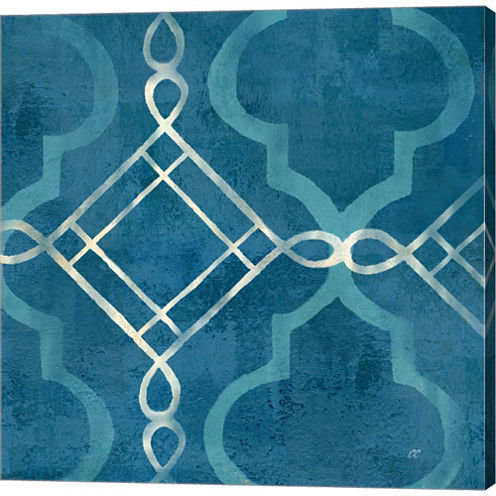 Abstract Waves Blue/Gray Tiles I Gallery Wrapped Canvas Wall Art On Deep Stretch Bars