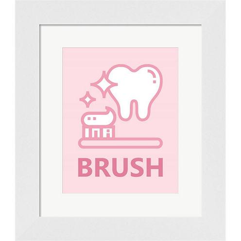 Girl's Bathroom Task-Brush Framed Print Wall Art