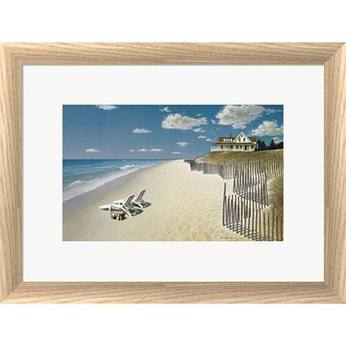 Beach House View Framed Print Wall Art