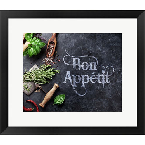 Bon Appetit Herbs And Spices Framed Print Wall Art