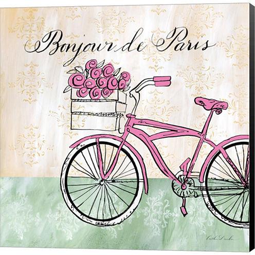 Bonjour De Paris II Gallery Wrapped Canvas Wall Art On Deep Stretch Bars