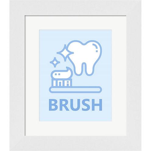 Boy's Bathroom Task-Brush Framed Print Wall Art