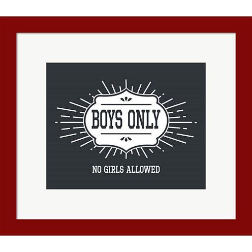 Boys Only Sunburst Framed Print Wall Art