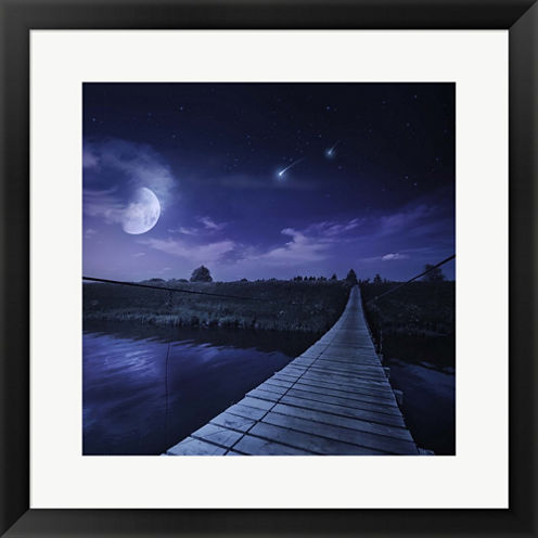 Bridge Under Starry Sky  Russia Framed Print WallArt