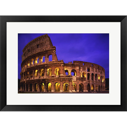 Coliseum A Night  Colosseum Rome Italy Framed Print Wall Art