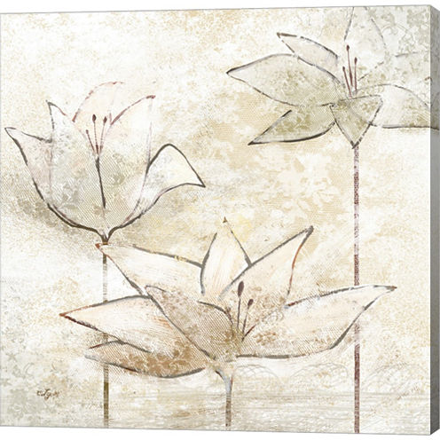 Floral Sketch I Gallery Wrapped Canvas Wall Art OnDeep Stretch Bars