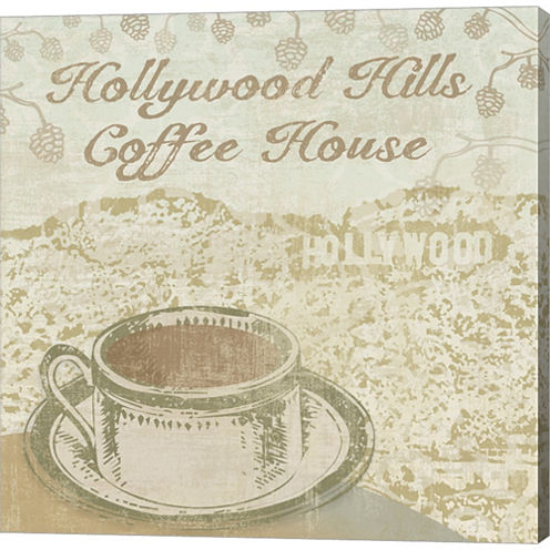 Hollywood Coffee House Gallery Wrapped Canvas WallArt On Deep Stretch Bars