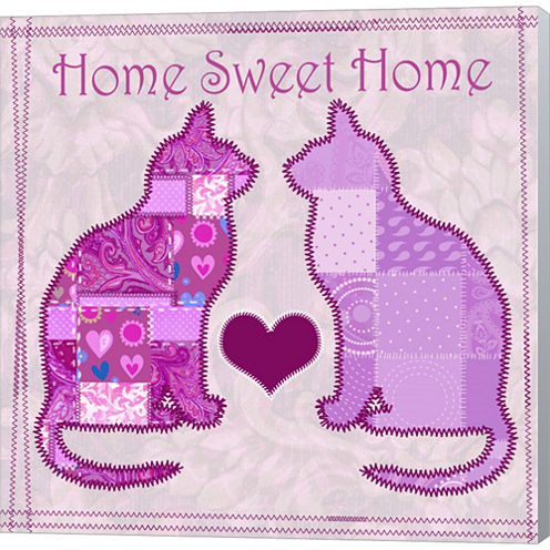 Home Sweet Home Cats III Gallery Wrapped Canvas Wall Art On Deep Stretch Bars