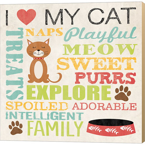 I Love My Cat 4 Gallery Wrapped Canvas Wall Art OnDeep Stretch Bars