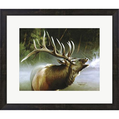 Elk In Mis Framed Print Wall Art