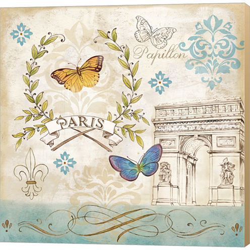 Le Papillon Paris II Gallery Wrapped Canvas Wall Art On Deep Stretch Bars