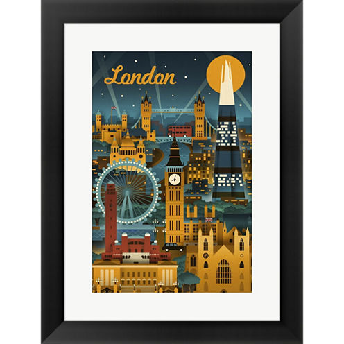 London Evening Ferris Wheel Framed Print Wall Art