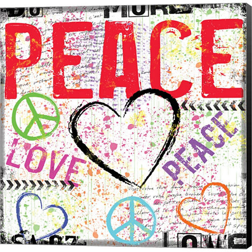 Love And Peace 2 Gallery Wrapped Canvas Wall Art On Deep Stretch Bars