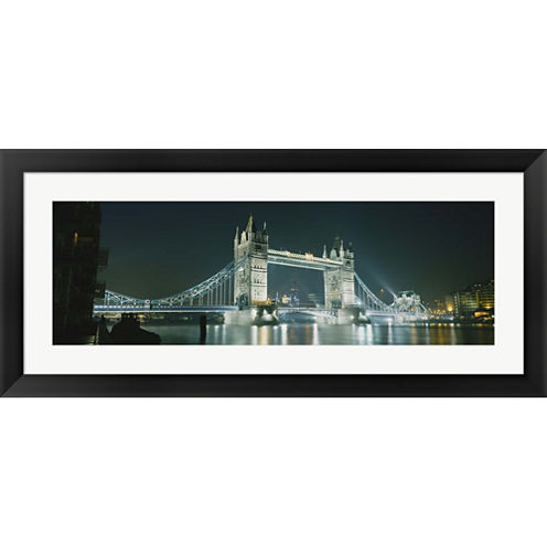 Low Angle View Of A Bridge Lit Up At Night Tower Bridge London England Framed Print Wall Art
