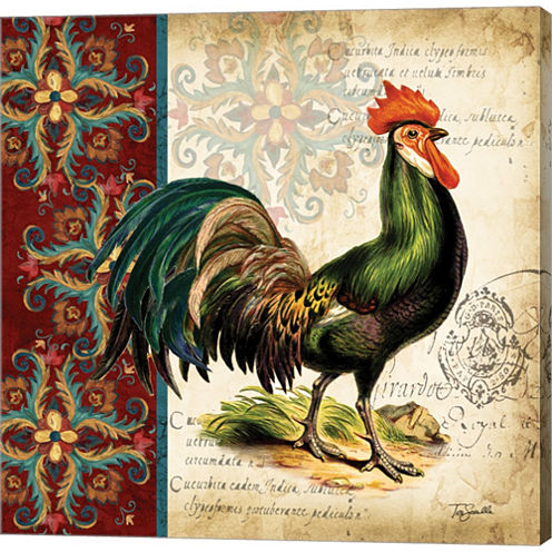 Suzani Rooster I Gallery Wrapped Canvas Wall Art On Deep Stretch Bars