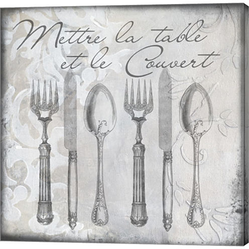 Vintage Cutlery III Gallery Wrapped Canvas Wall Art On Deep Stretch Bars