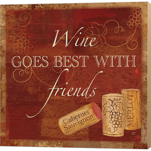 Wine Cork Sentiment I Gallery Wrapped Canvas WallArt On Deep Stretch Bars
