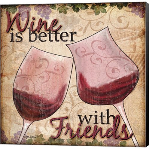 Wine With Friends II Gallery Wrapped Canvas Wall Art On Deep Stretch Bars