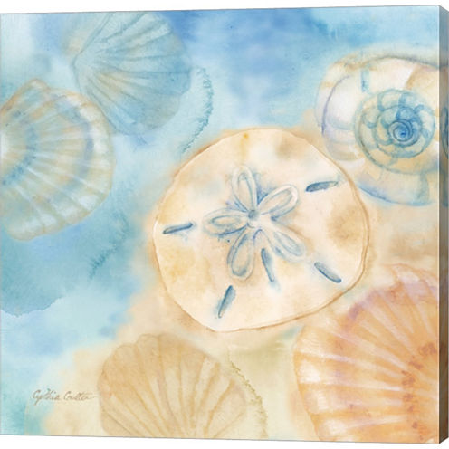 Watercolor Shells III Gallery Wrapped Canvas WallArt On Deep Stretch Bars