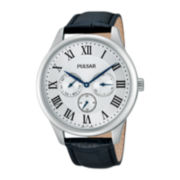 Pulsar® Traditional Mens Black Leather Strap Watch
