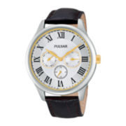 Pulsar® Traditional Mens Brown Leather Strap Watch