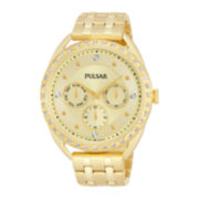 Pulsar® Night Out Womens Crystal-Accent Gold-Tone Stainless Steel Watch PP6178