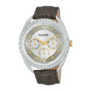 Pulsar® Night Out Womens Crystal-Accent Gray Leather Strap Watch