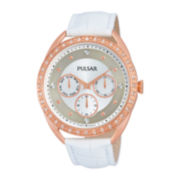 Pulsar® Night Out Womens Crystal-Accent White Leather Strap Watch