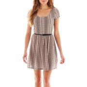 Love Reigns Short-Sleeve Belted Skater Dress