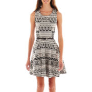 Heart & Soul® Sleeveless Aztec Print Belted Skater Dress