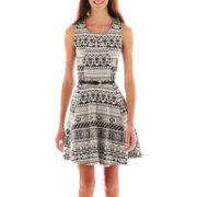Heart & Soul® Sleeveless Aztec Print Belted Skater Dress
