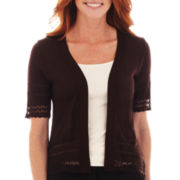 Robbie Bee® Short-Sleeve Crochet-Trim Sweater Shrug