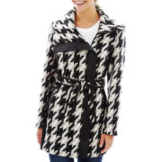 KC Collections Belted Houndstooth Coat