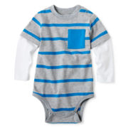 Okie Dokie® Long-Sleeve Striped Bodysuit – Boys newborn-24m