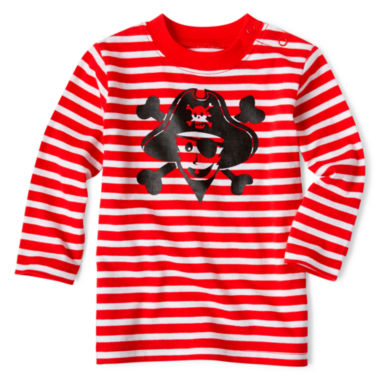 jcpenney.com | Okie Dokie® Long-Sleeve Striped Graphic Tee - Boys newborn-24m